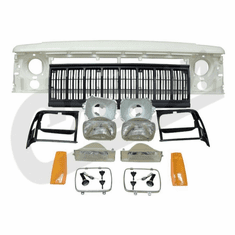 ( 55054945K ) Header Panel Kit for 1991-1996 Cherokee with Black Grille By Crown Automotive