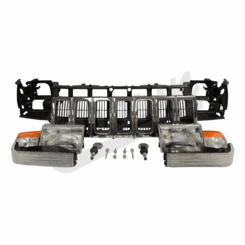 ( 55054996K ) Header Panel Kit for 1996-1998 Grand Cherokee with Chrome Grille By Crown Automotive