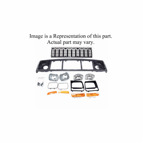 ( 55055233AEK ) Header Panel Kit for 1997-01 Cherokee with Black Grille By Crown Automotive