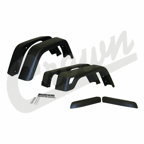 ( 55254918K76 ) 7-inch Wide 6 Piece Factory Style Fender Flare Kit, fits 1997-06 Jeep Wrangler TJ and 2004-06 Wrangler LJ By Crown Automotive