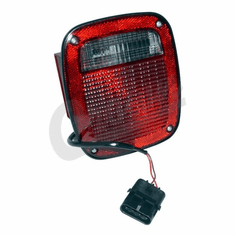 ( 56016721 ) Left Side Tail Light, Black, w/ license lamp, fits 1991-95 Jeep Wrangler YJ, 1997 Wrangler TJ by Crown Automotive