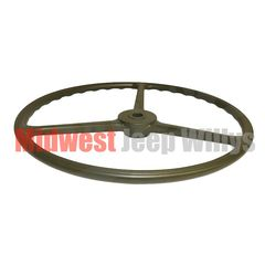 Replacement Steering Wheel, Olive Green Sheller Type, Fits 1941-1945 Willys MB, 1941-1945 Ford GPW