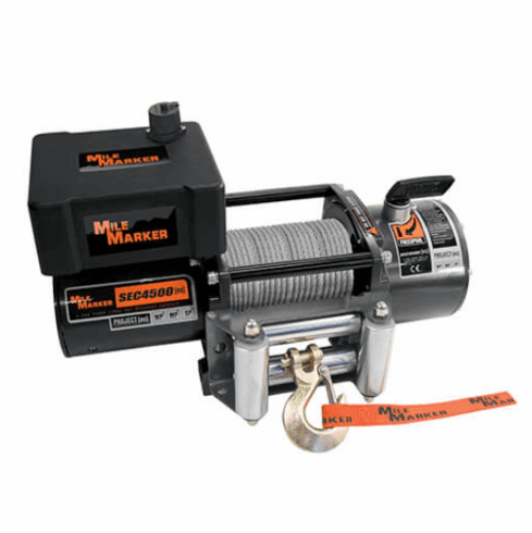 ( 76-50115BW ) PE4500 ES Trailer Winch with Mounting Plate & Strap 4,500 lb. Capacity by Mile Marker