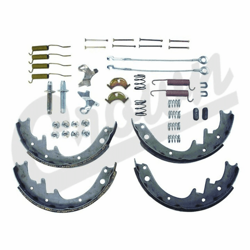 ( 8133818MK ) Rear Brake Shoe Set with Hardware for 1982-89 Jeep CJ7 & Wrangler YJ and 1984-89 Cherokee XJ By Crown Automotive