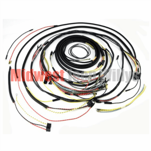 ( 907232 ) Complete Cloth Covered Wiring Harness Kit for 1955-1956 Willys Jeep CJ5 Models by Omix-Ada