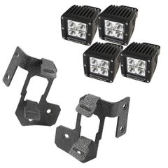A-Pillar Light Mount Kit, Textured Black, Cube LED, 07-17 Wrangler by Rugged Ridge