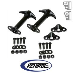 Black Powder Coated Stainless Hood Catch Set fits 1955-1995 Jeep CJ & YJ Wrangler by Kentrol