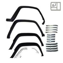 ( 5AGKM ) 4 Piece Fender Flare Kit with Retainers for 1984-96 Jeep Cherokee XJ By Crown Automotive