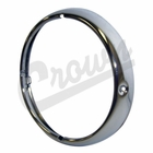 ( J0649518 ) Chrome Headlight Bezel for CJ3B, CJ5, CJ6, Late DJ3A, Willys Truck, Station Wagon, FC and Jeepster by Crown Automotive