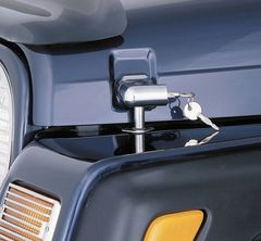 ( 1130203 ) Locking Hood Catch Kit, Chrome, 97-06 Jeep Wrangler by Rugged Ridge