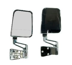 Door Mirror Kit, Dual Focus, Chrome, 87-02 Jeep Wrangler by Rugged Ridge