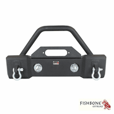 ( FB22001 ) Front Stubby Winch Bumper with Tube Guard, accepts OE fog lights Fits 2007 to 2018 JK Wrangler, Rubicon and Unlimited by Fishbone Offroad