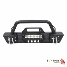( FB22004 ) Front Stubby Winch Bumper with Tube Guard, Fits 2007 to 2018 JK Wrangler, Rubicon and Unlimited by Fishbone Offroad