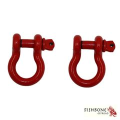 "Fishbone Offroad Red 3/4"" D-Ring Set for Universal Jeep Applications"