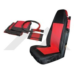 ( SCP20030 ) Front Seat Cover & Belt Cover Set, Black & Red, 2003-06 Wrangler TJ By RT Off-Road