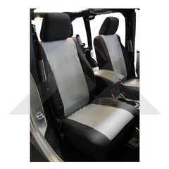 Front Seat Covers, Black & Gray, 2007-2010 Jeep Wrangler JK