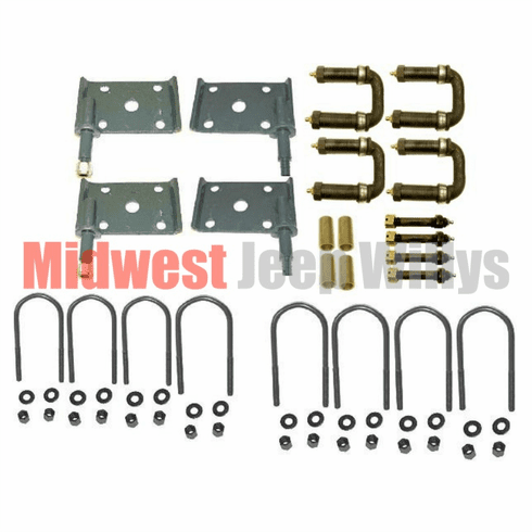( Hardware-M38A1 ) Suspension Hardware Kit, Greaseable Shackles and Bolts, Fits 1952-1957 Willys Jeep M38A1 by Preferred Vendor