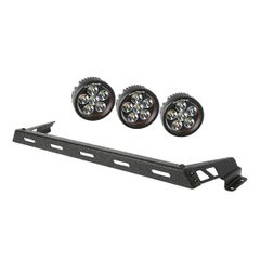 ( 1123213 ) Hood Light Bar Kit, Textured Black, 3 Round LEDs, 07-17 Jeep Wrangler JK by Rugged Ridge