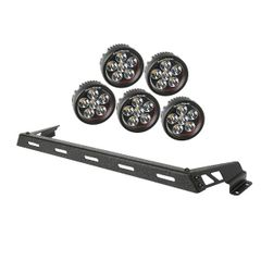 ( 1123214 ) Hood Light Bar Kit, Textured Black, 5 Round LEDs, 07-17 Jeep Wrangler JK by Rugged Ridge