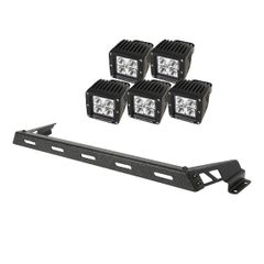 Hood Light Bar Kit, Textured Black, 5 Square LEDs, 07-17 Jeep Wrangler JK by Rugged Ridge