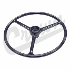 """( J0927417 ) Replacement Black Steering Wheel, for 2-1/4"""" horn button, Fits 1964-1975 CJ5, 1964-1975 CJ6 by Crown Automotive"""