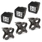 ( 1521092 ) Large X-Clamp and Cube LED Light Kit, Textured Black, 3-Piece by Rugged Ridge