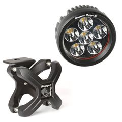 ( 1521093 ) Large X-Clamp and Round LED Light Kit, Textured Black, Single by Rugged Ridge