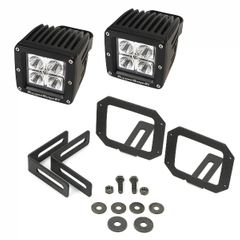 LED Light & Mount Kit, Square, 07-17 Jeep Wrangler by Rugged Ridge
