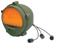 LED Type Front Turn Signal / Parking Composite Lamp with Blackout Function, Amber with Military Green Housing, 24 Volt, NSN# 6220-01-544-5896