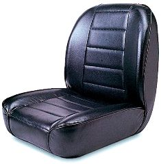 Low-Back Front Seat, Non-Recline, Black, 55-86 Jeep CJ Models by Rugged Ridge