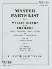 Master Parts List for Willys MB 1/4 Ton 4X4 Truck and MB-T 1/4 Ton Trailer