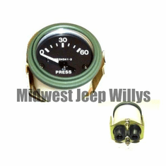 ( MS24541-2 ) 24 Volt Oil Pressure Gauge for M151, M38, M38A1 with Packard Rubber Connectors, 0-60 PSI by Newstar