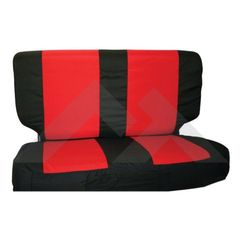 ( SCP20130 ) Rear Seat Cover & Belt Cover Set, Black & Red, 1987-95 Wrangler YJ, 1997-02 Wrangler TJ By RT Off-Road