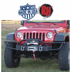 ( RH5004 ) Rock Hard 4x4 2007-2018 Jeep JK Wrangler Patriot Series PreRunner Grille Width Front Bumper w/ Tube Extensions w/ Lowered Winch Plate w/o Fog Lights