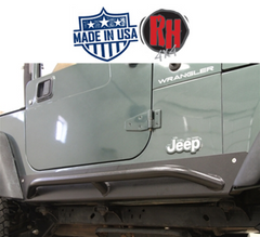 ( RH3001SC ) Rock Hard 4x4 Patriot Series Rocker Guards w/ Tube Sliders, Black Finish for 1997-2006 Jeep Wrangler TJ
