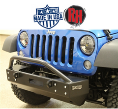 "( RH5002 ) Rock Hard 4x4 2007-2017 Jeep JK Wrangler Patriot Series Grille Width ""Stubby"" Front Bumper w/Lowered Winch Plate w/o Fog Lights"