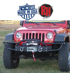 ( RH5004 ) Rock Hard 4x4 2007-2017 Jeep JK Wrangler Patriot Series PreRunner Grille Width Front Bumper w/ Tube Extensions w/ Lowered Winch Plate w/o Fog Lights