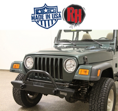 "Rock Hard 4x4 46"" Inch Narrow Width Legendary Front Bumper Straight Up Hoop for 1976-2006 Jeep CJ, YJ, TJ, LJ"
