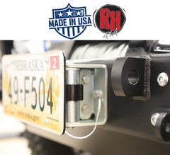 ( RH4006F ) Rock Hard 4x4 Roller Fairlead License Plate Bracket with Theft Prevention Cabled Lanyard