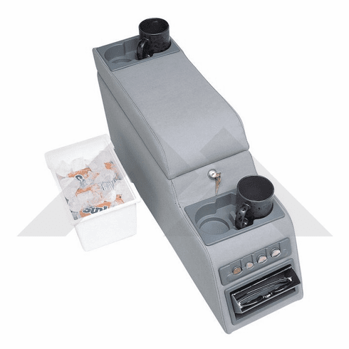 ( RT27008 ) Gray Deluxe Locking Center Console fits 1976-1995 Jeep CJ and Wrangler YJ By RT Off-Road