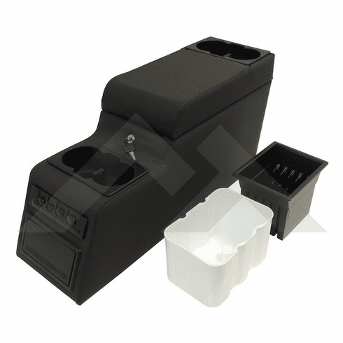 ( RT27009 ) Black Denim Deluxe Locking Center Console fits 1976-1995 Jeep CJ and Wrangler YJ By RT Off-Road