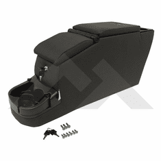 ( RT27047 ) Black Denim Locking Center Console, fits 1976-1995 Jeep CJ and Wrangler By RT Off-Road