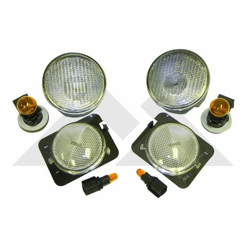 ( RT28018 ) Clear Marker & Turn Signal Lens Kit, 2007-2018 Jeep Wrangler JK By RT Off-Road