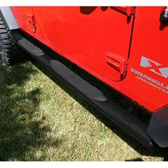 4 1/4-inch Oval Tube Side Steps, Black, 07-17 Jeep Wrangler by Rugged Ridge