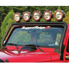 Windshield Mount Light Bar, Textured Black, 07-17 Jeep Wrangler by Rugged Ridge