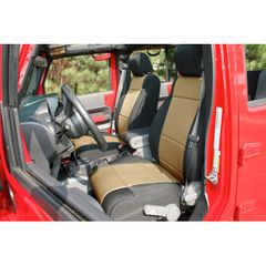 ( 1321504 ) Neoprene Front Seat Covers, Black and Tan, 11-17 Jeep Wrangler by Rugged Ridge