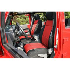 Neoprene Front Seat Covers, Black and Red, 07-10 Jeep Wrangler by Rugged Ridge