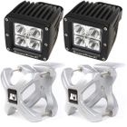 ( 1521032 ) Small X-Clamp & Cube LED Light Kit, Silver, Pair by Rugged Ridge