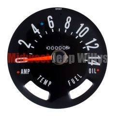 ( 913374 ) Speedometer Gauge Dial Head w/ Odometer Kilometers, 0-140 KPH Dial, fits 1955-1979 Jeep CJ Models by Omix-Ada