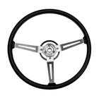 ( 1803105 ) Steering Wheel, Black 3 Metal Spoke Design, 1976-95 Jeep CJ7 & Jeep Wrangler YJ
